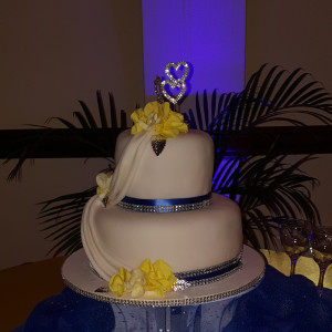 Two Tier Royal Blue and Yellow Cake